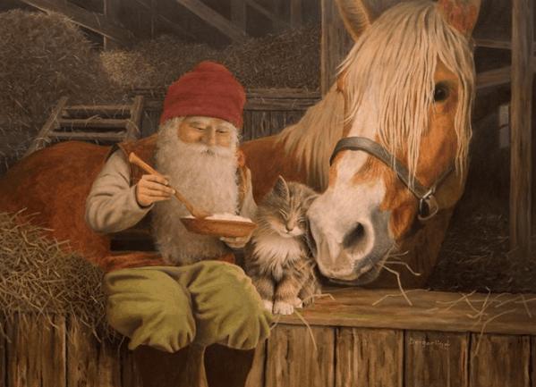 Kerstkaart met illustratie van de Zweedse tekenaar Jan Bergerlind