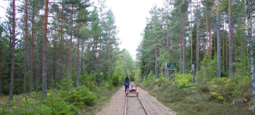 Spoorfietsen in Zweden