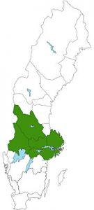 Landkaart Midden-Zweden