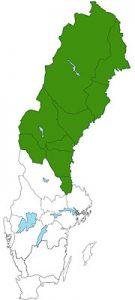 Landkaart Noord-Zweden