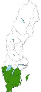 Landkaart Zuid-Zweden